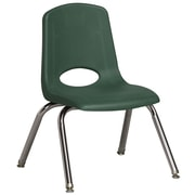 ECR4Kids® 12(H) Plastic Stack Chair With Chrome Legs & Nylon Swivel Glides, Green