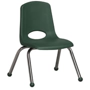 ECR4Kids® 12(H) Plastic Stack Chair With Chrome Legs & Ball Glides, Hunter Green