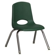 "ECR4Kids® 12""(H) Plastic Stack Chair With Chrome Legs & Nylon Swivel Glides, Hunter Green"