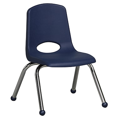 ECR4Kids® 12in.(H) Plastic Stack Chair With Chrome Legs & Ball Glides, Navy