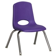 ECR4Kids® 12(H) Plastic Stack Chair With Chrome Legs & Nylon Swivel Glides, Purple