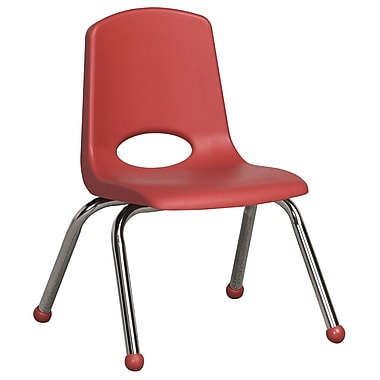ECR4Kids® 12in.(H) Plastic Stack Chair With Chrome Legs & Ball Glides, Red