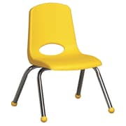 ECR4Kids® 12(H) Plastic Stack Chair With Chrome Legs & Ball Glides, Yellow