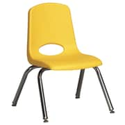 "ECR4Kids® 12""(H) Plastic Stack Chair With Chrome Legs & Nylon Swivel Glides, Yellow"