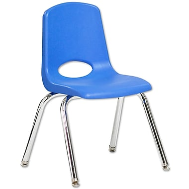 ECR4Kids® 14in.(H) Plastic Stack Chair With Chrome Legs & Nylon Swivel Glides, Blue