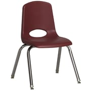 ECR4Kids® 14(H) Plastic Stack Chair With Chrome Legs & Nylon Swivel Glides, Burgundy