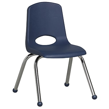 ECR4KidsMD – Chaise empilable en plastique de 14 po de haut avec pattes chromées et glisseurs en boule, bleu marine, paq./6