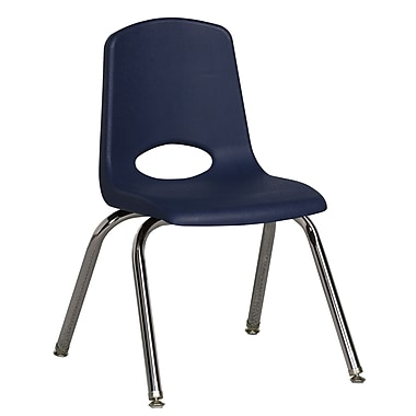 ECR4Kids® 14in.(H) Plastic Stack Chair With Chrome Legs & Nylon Swivel Glides, Navy