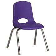 "ECR4Kids® 14""(H) Plastic Stack Chair With Chrome Legs & Nylon Swivel Glides, Purple"