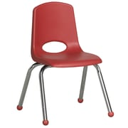 ECR4Kids® 14(H) Plastic Stack Chair With Chrome Legs & Ball Glides, Red