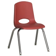 ECR4Kids® 14(H) Plastic Stack Chair With Chrome Legs & Nylon Swivel Glides, Red