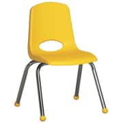 "ECR4Kids® 14""(H) Plastic Stack Chair With Chrome Legs & Ball Glides, Yellow"