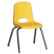 "ECR4Kids® 14""(H) Plastic Stack Chair With Chrome Legs & Nylon Swivel Glides, Yellow"