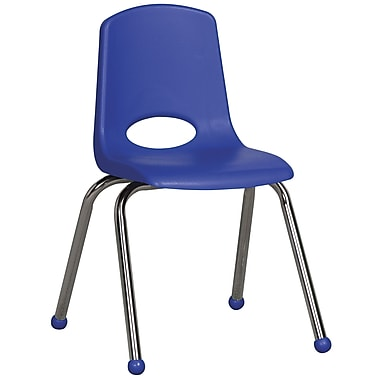 ECR4Kids® 16in.(H) Plastic Stack Chair With Chrome Legs & Ball Glides, Blue