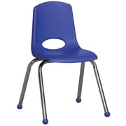 ECR4Kids® 16(H) Plastic Stack Chair With Chrome Legs & Ball Glides, Blue