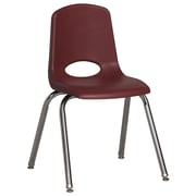 ECR4Kids® 16(H) Plastic Stack Chair With Chrome Legs & Nylon Swivel Glides, Burgundy