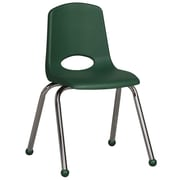 "ECR4Kids® 16""(H) Plastic Stack Chair With Chrome Legs & Ball Glides, Green"