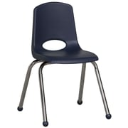 ECR4Kids® 16(H) Plastic Stack Chair With Chrome Legs & Ball Glides, Navy