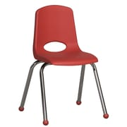 ECR4Kids® 16(H) Plastic Stack Chair With Chrome Legs & Ball Glides, Red