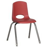 ECR4Kids® 16(H) Plastic Stack Chair With Chrome Legs & Nylon Swivel Glides, Red