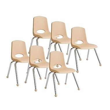 ECR4KidsMD – Chaise empilable en plastique de 16 po de haut avec pattes chromées et glisseurs en boule, sable, paq./6