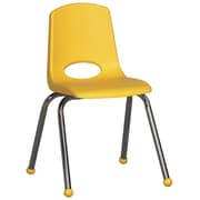 ECR4Kids® 16(H) Plastic Stack Chair With Chrome Legs & Ball Glides, Yellow