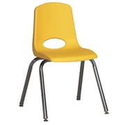 ECR4Kids® 16(H) Plastic Stack Chair With Chrome Legs & Nylon Swivel Glides, Yellow