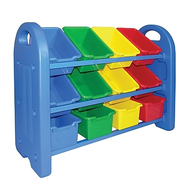 ECR4Kids® 3 Tier Storage Organizer With Bins, Blue