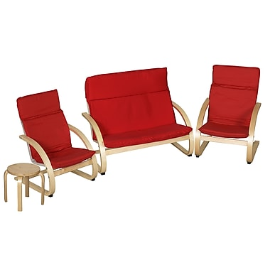ECR4Kids® Bentwood Comfort Living Room Set, Red/Natural, 4-Piece