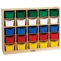 ECR4Kids® 25 Tray Birch Storage Cabinet With 25 Assorted Bins, Natural