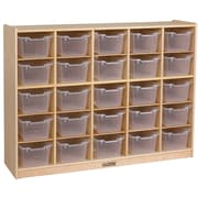 ECR4Kids® 25 Tray Birch Storage Cabinet With 25 Clear Bins, Natural