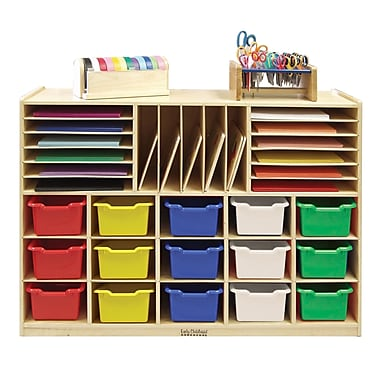 ECR4Kids® Multi-Section Birch Storage Cabinet with 15 Assorted Bins, Natural
