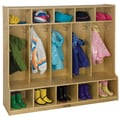 ECR4®Kids 5 Section Birch Coat Locker With Bench, Natural