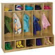 ECR4Kids® 5 Section Birch Coat Locker With Bench, Natural