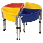 ECR4Kids® 4 Station Round Sand and Water Play Table With Lids, Blue/Red/Yellow