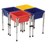 ECR4Kids® 4 Station Square Sand and Water Play Table With Lids, Blue/Red/Yellow
