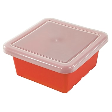 Square Tray with Lid - Red