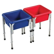 ECR4Kids® 2 Station Square Sand and Water Play Table With Lids, Blue/Red/Yellow
