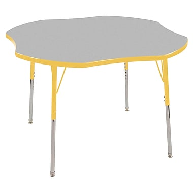 ECR4Kids® 48in. Clover Activity Table With Toddler Legs & Swivel Glide, Gray/Yellow/Yellow