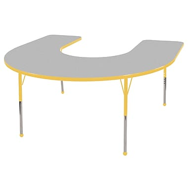 ECR4Kids® 60in. x 66in. Horseshoe Activity Table With Toddler Legs & Ball Glide, Gray/Yellow/Yellow