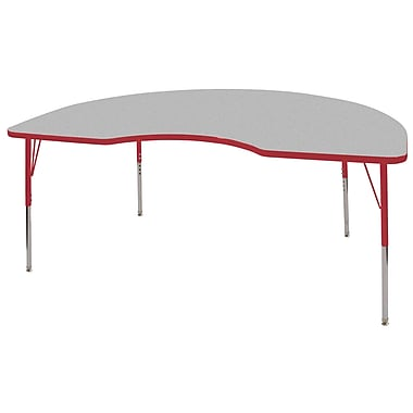 ECR4Kids® 48in. x 72in. Kidney Activity Table With Toddler Legs & Swivel Glide, Gray/Red/Red