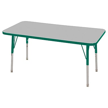 "24""x48"" Rectangular T-Mold Activity Table, Grey/Green/Standard Swivel"