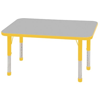 "24""x48"" Rectangular T-Mold Activity Table, Grey/Yellow/Chunky"