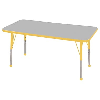 "24""x48"" Rectangular T-Mold Activity Table, Grey/Yellow/Standard Ball"