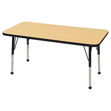 "24""x48"" Rectangular T-Mold Activity Table, Maple/Black/Toddler Ball"
