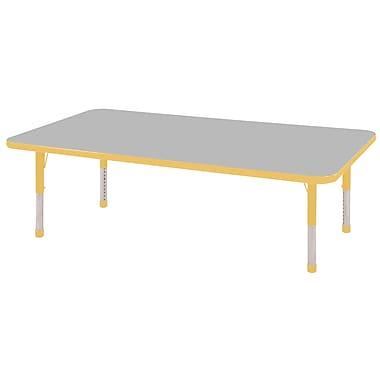 "24""x60"" Rectangular T-Mold Activity Table, Grey/Yellow/Chunky"