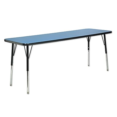 "24""x60"" Rectangular T-Mold Activity Table, Blue/Black/Toddler Swivel"