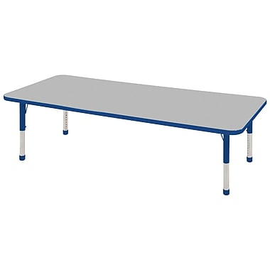 """24""""x60"""" Rectangular T-Mold Activity Table, Grey/Blue/Chunky"""