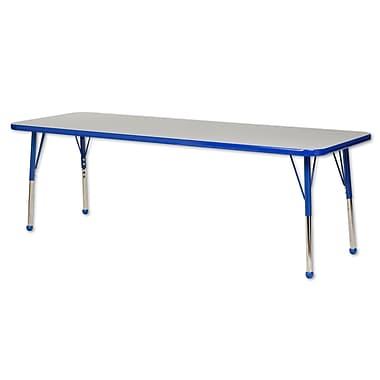 "24""x72"" Rectangular T-Mold Activity Table, Grey/Blue/Toddler Ball"