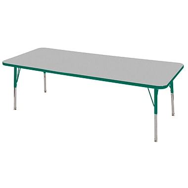 "24""x60"" Rectangular T-Mold Activity Table, Grey/Green/Standard Swivel"